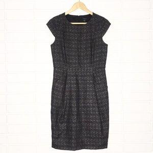 Ann Taylor | Grey Cap-Sleeve Sheath Midi Dress